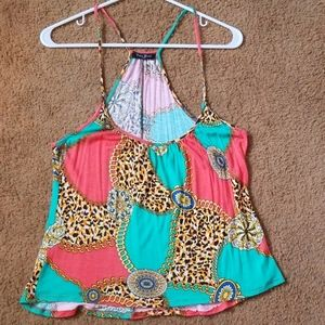 Turquoise and coral tank top